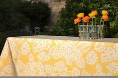 Nappe enduite Hortensia jaune carrée 120x120 - Fleur de Soleil