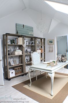 home office makeover @ perfectly imperfect- love this space! So beautiful and functional