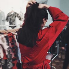 Wearing BOHO red trench.