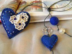 Felt bookmark with a blue heart / felt Heart by Marywool on Etsy, $11.00
