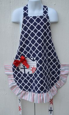 Nautical Little Girls Apron Ready to Ship Reversible by ApronStyle