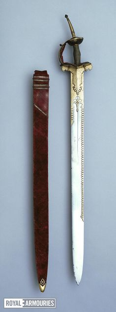 Thumbnail image of Sword (firanghi) and scabbard With khanda hilt, and scabbard