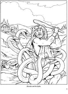 Adventures of Hercules Coloring Book Dover Publications Hydra Mythology, Greek Mythology, Coloring Pages For Boys, Coloring Book Pages, 12 Labors Of Hercules, Dover Publications, Color Activities, Editing Pictures, Color Of Life