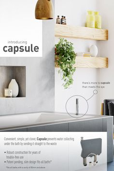 Introducing Capsule by VADO, there's more to Capsule than meets the eye! British Bathroom, Floating Shelves, Eye, Simple, Design, Home Decor, Decoration Home, Room Decor, Wall Shelves