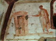 Jesus with a wand raising Lazarus (click to enlarge),  Catacomb of the Giordani, Rome, third century.
