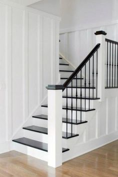 Westport Farmhouse for the Modern Traditionalist traditional staircase Modern Staircase FARMHOUSE modern Staircase traditional Traditionalist Westport Painted Staircases, Staircase Railings, Modern Staircase, Staircase Ideas, Banisters, Stairways, Metal Spindles, White Staircase, Staircase With Landing