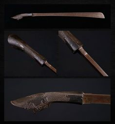 """Aceh Sword  Dated: 19th century  Culture: Sumatra, Indonesia  Measurements: 28 1/2"""" Overall with a 22"""" Blade -that is 3/8"""" thick at the back edge  This is one of the many variations in blade styles. This one seems to be in between a """"Ladieng"""" (that usually has a slightly curved blade) and a """"CoJang"""" that often has a sharp back edge near the tip. This well forged blade is long and heavy, shows a good pattern in the metal and is single edged. The horn handle has intricate carving on the…"""