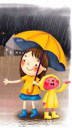Download Animated 360x640 «We love rain!» Cell Phone Wallpaper. Category: Cartoons