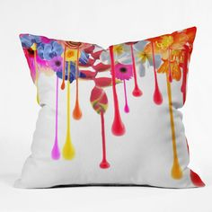 Deb Haugen Drip Fleur Throw Pillow #daisy #pink #floral #flower