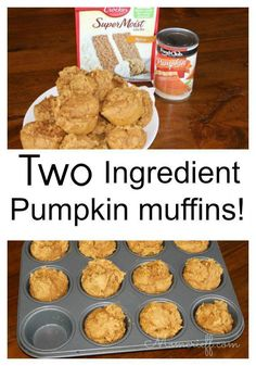 Two Ingredient Pumpkin muffins. Yes, this is the recipe using cake mix and a can of pumpkin puree. Easy and quick recipe. Make and eat in less than 25 minutes!
