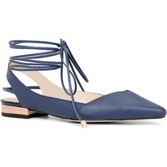 Flats ($31) ❤ liked on Polyvore featuring shoes, flats, navy, pointed-toe ankle-strap flats, pointed-toe flats, ankle wrap flats, navy flats and ballet flats