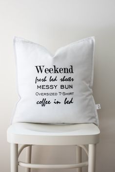 Embroidered word cushion pillow pillowcase,quote pillow,quote cushion,typography cushion,monochrome pillow,wedding gift Typography Cushions, Coffee In Bed, Bed Pillows, Cushion Pillow, Pillow Quotes, Real Estate Marketing, Bed Sheets, Pillow Cases, Monochrome