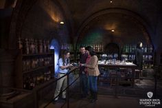 The art department designed the Potions classroom to appear as though it were located in a dark, underground corner of the castle. The brass-leafed archways are inscribed with the Latin and English names of potion ingredients and rare minerals, all selected from ancient alchemy recipes. Students brewed their potions using old-fashioned, gas-powered Bunsen burners and among the ingredients kept on the classroom shelves were baked animal bones from a local butcher shop and dried leaves and…
