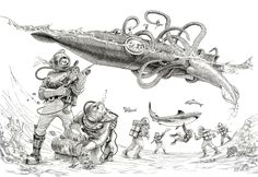 The submarine described in '20.000 leagues under the sea' by Jules Verne being attacked by the giant squid.