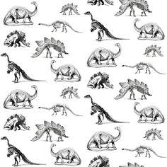 Dinosaur Skeletons, Black and White Dino fabric by bohobear on Spoonflower - custom fabric