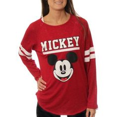 Disney Juniors' Mickey Mouse Long Sleeve Hi-Low Hacci Top - Walmart.com