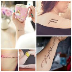 Children's name tattoos.  Perfect for moms!