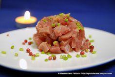 Una ricetta per il pesce crudo : tartare di tonno pinna gialla con zenzero sotto aceto, gambi di prezzemolo e salsa di soia