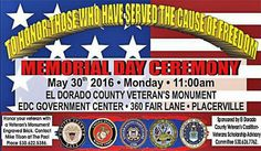 Our veterans have borne the cost of America's wars, and they have stood watch over America's peace. The American people are grateful to those who have given their all fighting for our freedoms.  EL DORADO COUNTY VETERAN'S MONUMENT EDC GOVERNMENT CENTER  360 FAIR LANE • PLACERVILLE 11:00 am Supporting their families in their pursuit of an higher education is the least we can do.