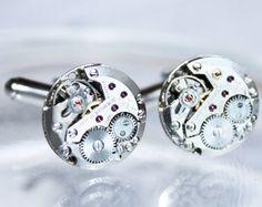 Luxury Steampunk Cufflinks with TISSOT Swiss Watch Movements by TimeInFantasy, $75.00 #wedding #steampunk