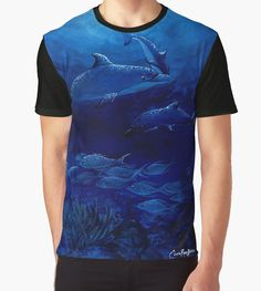 'Dolphins' Graphic T-Shirt by Cherie Roe Dirksen Cool Tees, Dolphins, Gifts For Him, Laptop Sleeves, Cool Stuff, Stuff To Buy, Graphic Tees, Cool Outfits, Classic T Shirts