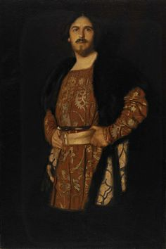 """Self-Portrait in Costume of Hamlet"", ca. 1900, Albert Herter, oil on canvas, 36 x 24 1/4 in. (91.5 x 61.5 cm), Smithsonian American Art Museum, Gift of Mr. and Mrs. Christian Herter, 1977.100"