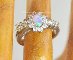 Sterling Silver and Opal Ring~ Size 6.5