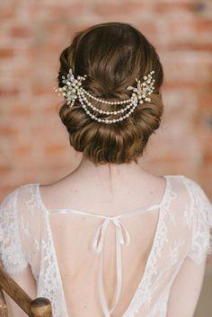 Ivory Pearl Bridal Hair Chain Bridal Headpiece Wedding hair