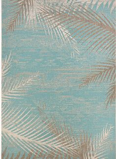Odilia Tropical Palms Turquoise Gray Ivory Area Rug