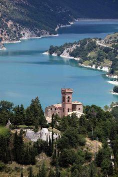 Lake Fiastra, Marche, Province of Macerata. Lago di Fiastra . Artificial lake, Macerata.