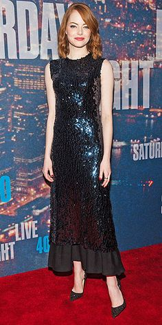 Last Night's Look: Love It or Leave It? | EMMA STONE | in a navy and black sequined Christian Dior cashmere dress with Christian Louboutin pumps at the SNL 40th Anniversary Celebration in N.Y.C.