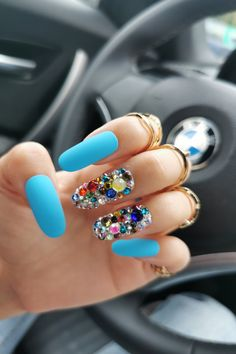 Stick On Nails, Glue On Nails, Best Press On Nails, Blue Press, Party Nails, Swarovski Stones, Crystal Nails, Blue Party, Nail Set