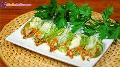 Fiori di zucca ripieni di speck e mozzarella