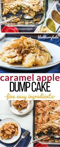 Caramel Apple Dump Cake is SO easy to make! Five ingredients and ZERO mixing…