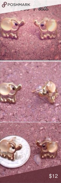 (G1) White Baby Elephant Earrings See pic. The faux opal stone is more of an off white. Jewelry Earrings