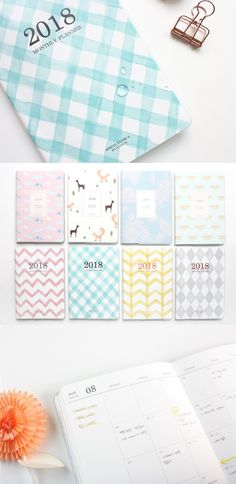 The 2018 Spring Monthly Planner is slim, light, and has a PVC cover to protect the planner at all times! It's a great 2018 monthly planner to carry, to write memos and make great plans for your 2018!
