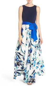 Eliza J Jersey & Crêpe de Chine Maxi Dress