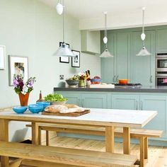 Open-plan kitchen/diner blue green gray painted kitchen cabinets, glass pendant and dining table and benches. Mint Kitchen, Open Plan Kitchen Diner, Country Kitchen, Happy Kitchen, Painting Kitchen Cabinets, Kitchen Paint, Kitchen Design, Kitchen Decor, Kitchen Ideas