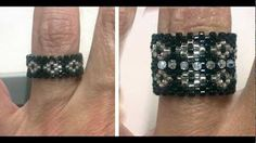 Caterpillar Ring with Tila beads Beading Tutorial by HoneyBeads1 - YouTube