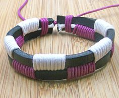 Simple  Women and  men   black leather   bracelet  with white  and purple rope  wristband cuff. $4.50, via Etsy.