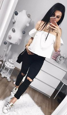 #summer #outfits White Off The Shoulder Top + Black Destroyed Skinny Jeans + White Sneakers ❤️