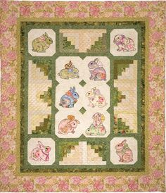 Garden Bunnies, 66 x 77, by Darcy Ashton - ten hand-appliquéd bunnies set among log cabin blocks, done in the colors of spring. The patterns for all of the bunnies - and for eleven different quilts featuring them - are in Bunnies & More, a book by Ashton Publications. - Quilt Inspiration: Easterly quilts