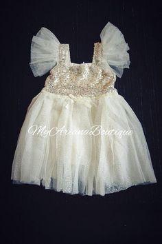 Ivory Gold Sequin Dress Party Dress Girls Dress Toddler Dress Birthday Dress Pink Tulle Dress