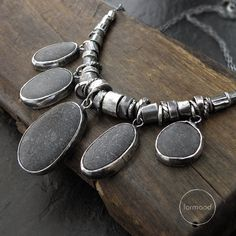 Sterling silver and beach stone necklace grey by studioformood