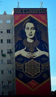 "Shepard Fairey ""Paz Y Libertad"" New Mural For Maus Malaga - Spain"
