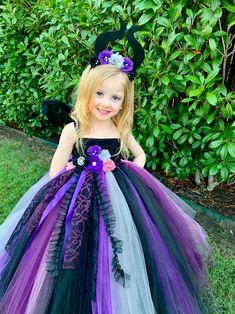 Maleficent Costume Kids, Unicorn Halloween Costume, Villain Costumes, Movie Halloween Costumes, Tutu Costumes, Halloween Dress, Princess Tutu Dresses, Pink Tutu Dress, Pink Flower Girl Dresses