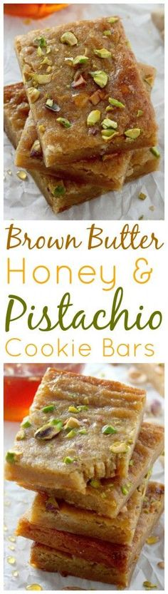 Thick and chewy Brown Butter Honey Pistachio Bars are perfect for holiday gifting! Use Madhava #organic honey to be bee-friendly | madhavaseeteners.com