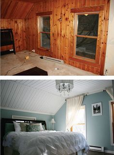 Paint the wood paneling to give the room a better look to it