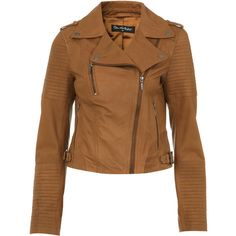 Miss Selfridge Tan Authentic Leather Jacket ($122) ❤ liked on Polyvore featuring outerwear, jackets, coats, casaco, coats & jackets, tan, brown biker jacket, tan moto jacket, leather jackets and brown moto jacket