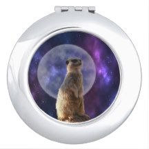 #meerkat Standing In Front Of A Full Moon, Ladies #compact Mirror.